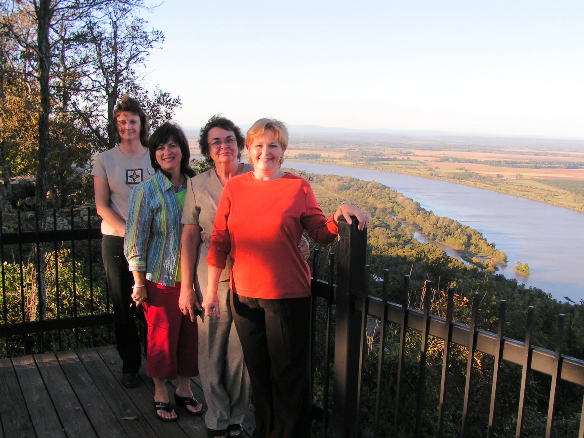 (L-R) Pam Gray, Deanna Ratcliffe, Linda Foreman, & Dee Ann Gutekunst enjoying one of the many scenic vistas atop Petit Jean Mountain.